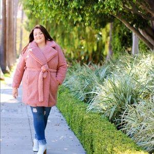 Jackets & Blazers - 18/20 boucle teddy coat dusty pink